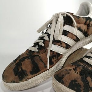 Custom adidas gazelles. Black with bleach splatter